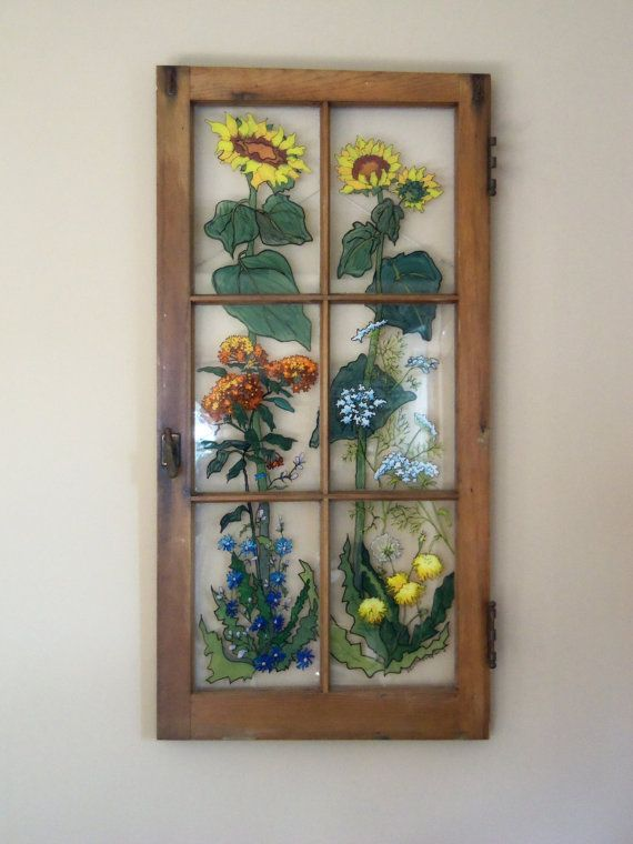 Painted Vintage Window  Roadside Garden by 1HeavnCreations on Etsy, $220.00