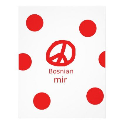 #Bosnian Language And Peace Symbol Design Letterhead - #office #gifts #giftideas #business