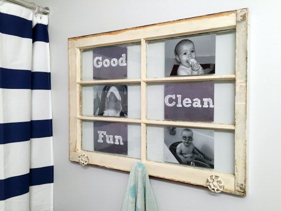 old wood window repurpose to towel rack, bathroom ideas, repurposing upcycling, wall decor, windows