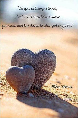 Ce qui est important c'est l'intensité d'Amour que vous mettez dans le plus petit geste. Mère Teresa
