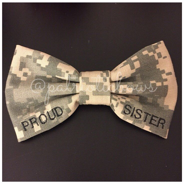 Proud Sister Classy Corner Nametape Bow (Army, Marines, US Navy, Air Force, Coast Guard) by PatrioticBows on www.patrioticbows.com