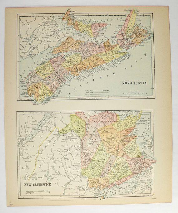 1896 Nova Scotia Map New Brunswick Canada Map, Vintage Decor, Canada Geography, Antique Travel Map, Office Art Gift for Friend available from OldMapsandPrints.Etsy.com #NovaScotiaCanada #NewBrunswickCanada