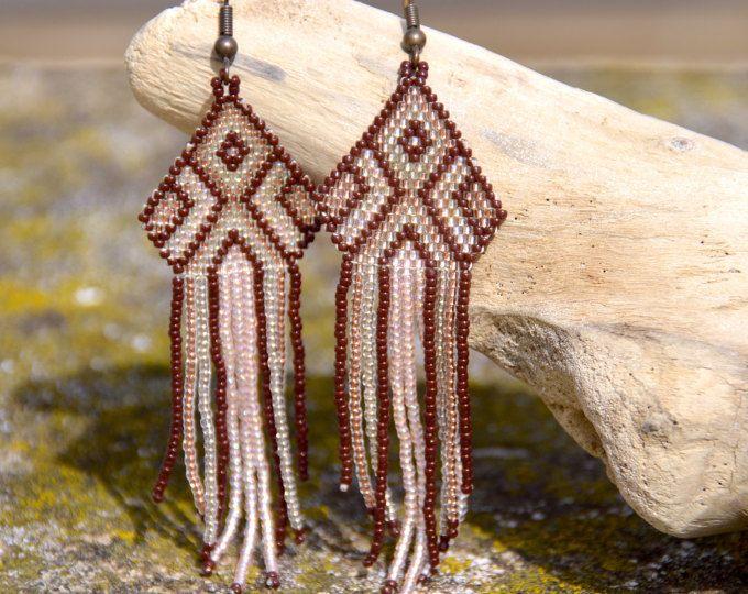 Rosa y marrón con cuentas pendientes-artesanías-estilo étnico con estilo americano de flecos pendientes gota pendientes-nativo