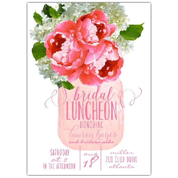 Pink Floral Hydrangea Mason Jar Bridal Luncheon Invitations