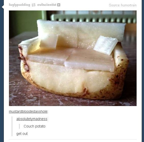OMG. An *actual* couch potato. This is masterful and perhaps the greatest literal pun ever.