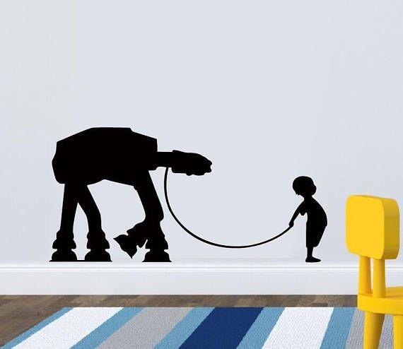 Un niño y su en - en la etiqueta de la pared de vinilo calcomanía-en pared calcomanía Star Wars etiqueta niños etiqueta de la sala - Star Wars