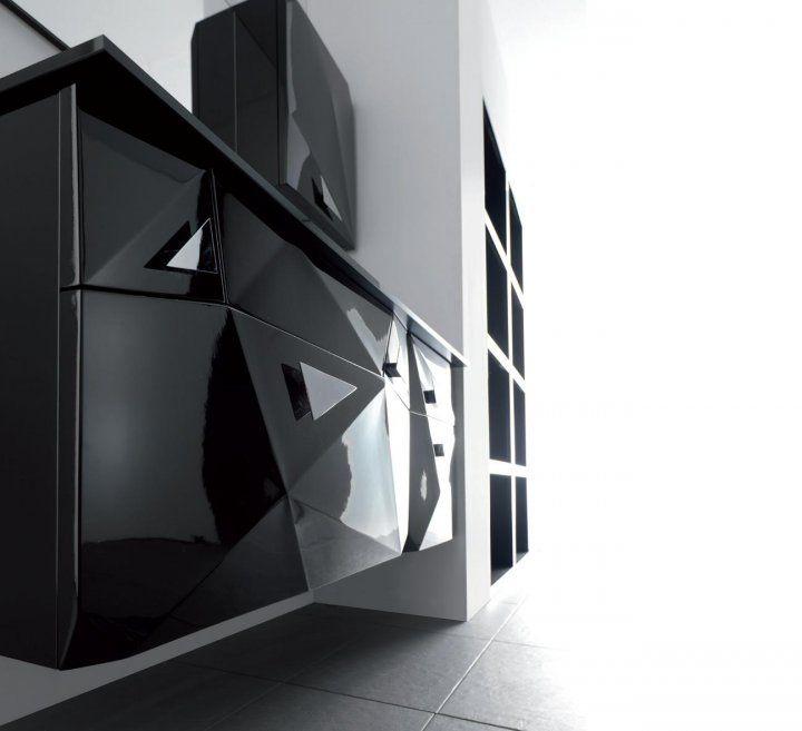 """DIAMOND""  BATHROOM FURNITURE,home,new,interior design,accesories,set,new,style,bath,tiles,product,idea,decoration,woman,mirror,porcelain,επιπλο μπανιου,μπανιο,νιπτηρας,καθρεπτης,πλακακια,idea,spa,architecture,decoration,black,white"