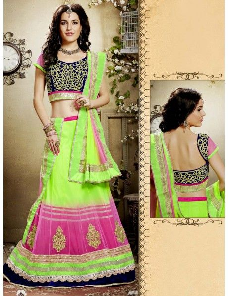 Bharat plaza gives you a complete outlook on the latest bridal lehenga. Mind-blowing Neon Green & Pink Lehenga. http://www.bharatplaza.com/women/lehengas.html