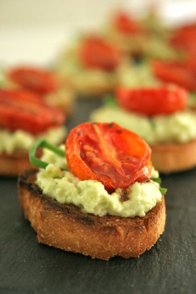 Avocado & goat cheese crostini with slow-roasted balsamic tomatoes