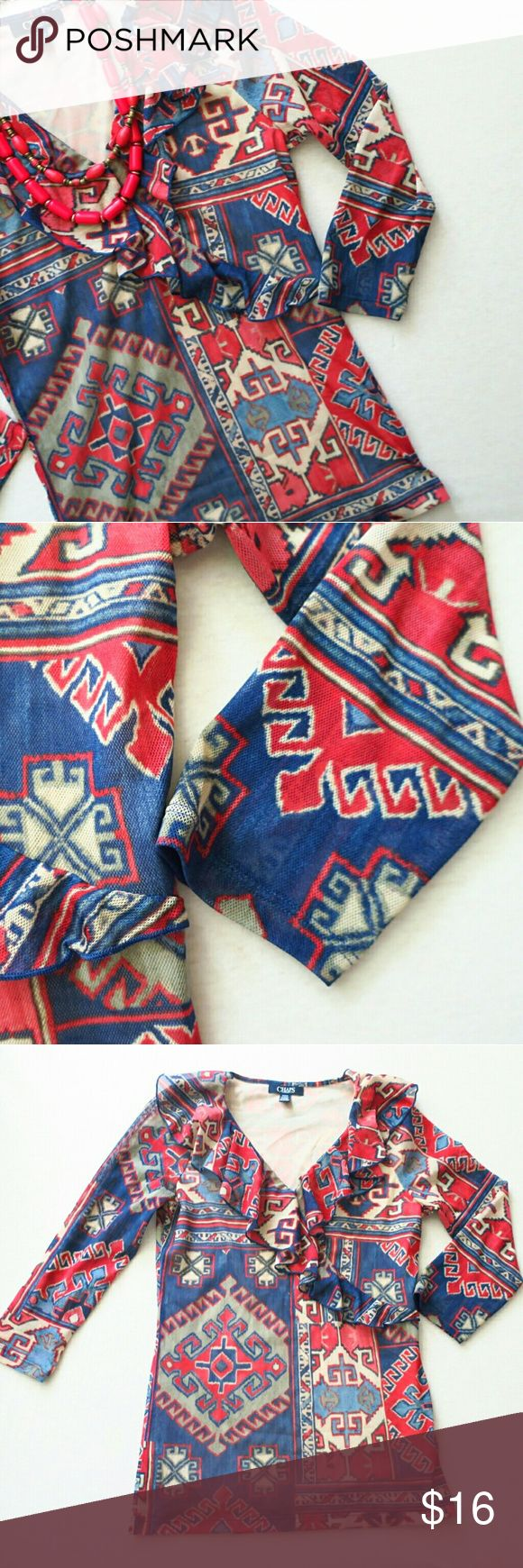 Chaps Preforated 3/4 sleeve Aztec Blouse Preforated 100% Polyester  Aztec Print Light tan red and blue Vneck with ruffle   Lined  NWOT   TOP RATED SELLER  FAST SHIPPING  Create a bundle of items and get a Private discounted price offer from me Chaps Tops Blouses