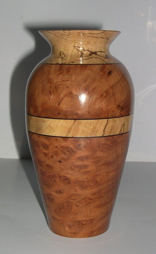 Redwood Burl Vase w/Spalted Maple Ring and Collar