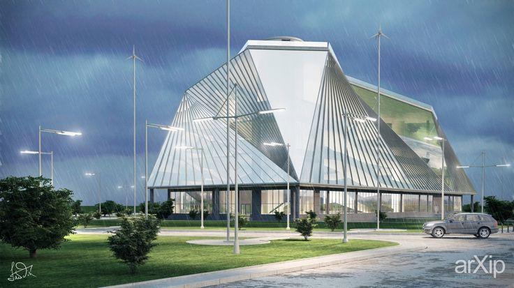 BMW showroom in Kiev (Ukraine) - Corner view: архитектура, зd визуализация, хай-тек, 6-12 эт | 18-36м, 5000 м2 и более, автосалон, дилерский центр, каркас - ж/б, здание, строение, фасад - стекло, архитектура #architecture #3dvisualization #hitech #612floors_1836m #5000m2иболее #cardealer #dealership #frame_ironconcrete #highrisebuilding #structure #facade_glass #architecture arXip.com