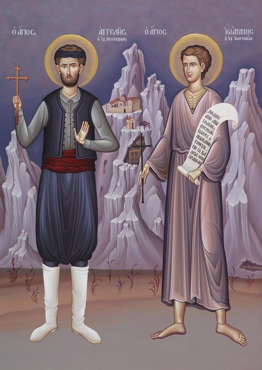 Ο Άγιος Αγγελής ο εκ Ρεθύμνης και ο Άγιος Ιωάννης ο εξ Αγαρηνών (Μονή Μεγάλου Μετεώρου)