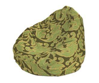 Dekoria, Babzsákfotel - elegáns, anyagában mintás anyagból - barna, zöld