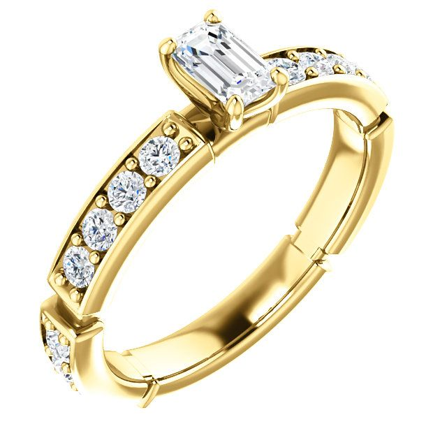 14kt Yellow Gold 5x3mm Center Emerald Genuine Diamond and 16 Accent Round Diamonds Accented Engagement Ring...(ST121988:821:P).! Price: $1099.99