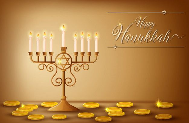 Happy Hanukkah Card Template With Coins And Lights Happy Hanukkah Card Template Hanukkah