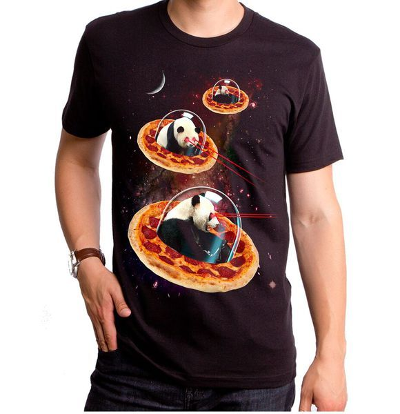 Space invader t-shirt by Goodie Two Sleeves showing Pandas in space on pizza ships.