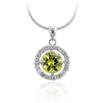 Green Cubic Zirconia Drop Pendant