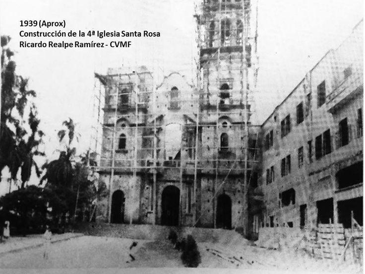 Ricardo Realpe en CALI VIEJO - Memoria fotográfica. Momento de construcción de la cuarta versión de la iglesia de Santa Rosa de Lima, luego que la anterior hubiera sido seriamente afectada por el terremoto de 1925. Autor: Desconocido Fuente: Revistas Despertar Vallecaucano