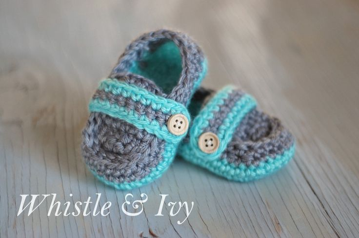 Monk Strap Baby Booties - Free Crochet Pattern by Whistle and Ivy