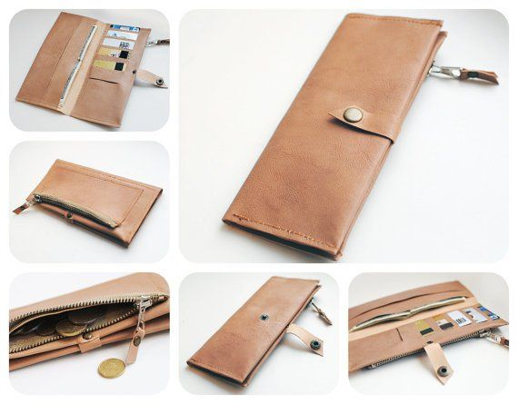 Minimalist Womens Beige Genuine Leather Wallet Rita Sutormina