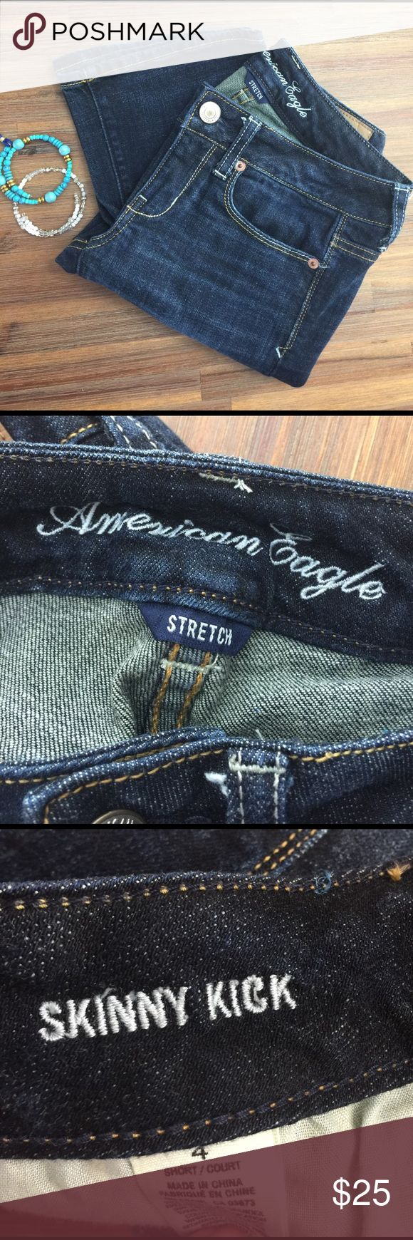 American Eagle Outfitters skinny kicks jeans American Eagle Outfitters skinny kicks short jeans. Perfect condition & ready to wear. American Eagle Outfitters Jeans Flare & Wide Leg