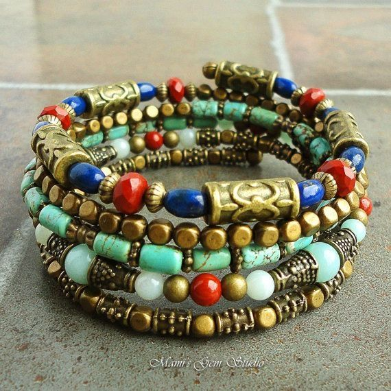 Blue+Lapis+Turquoise+Stone+Memory+Wire+Bracelet+by+mamisgemstudio,+$49.95 by yvette