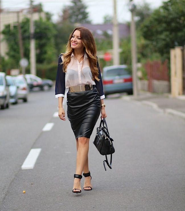 black leather skirt and lovely shirt  http://www.sandrab.ro/2013/07/black-leather-skirt.html