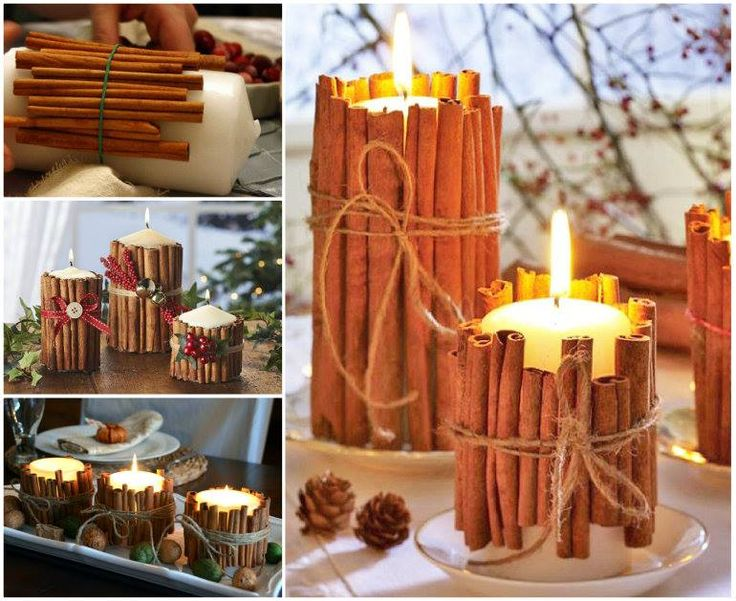 2 ideas for making Christmas candles —  Great centrepiece for your Christmas table.   Check tutorial--> http://wonderfuldiy.com/wonderful-diy-christmas-candles-with-pine-leaf-cinnamon-stick/#