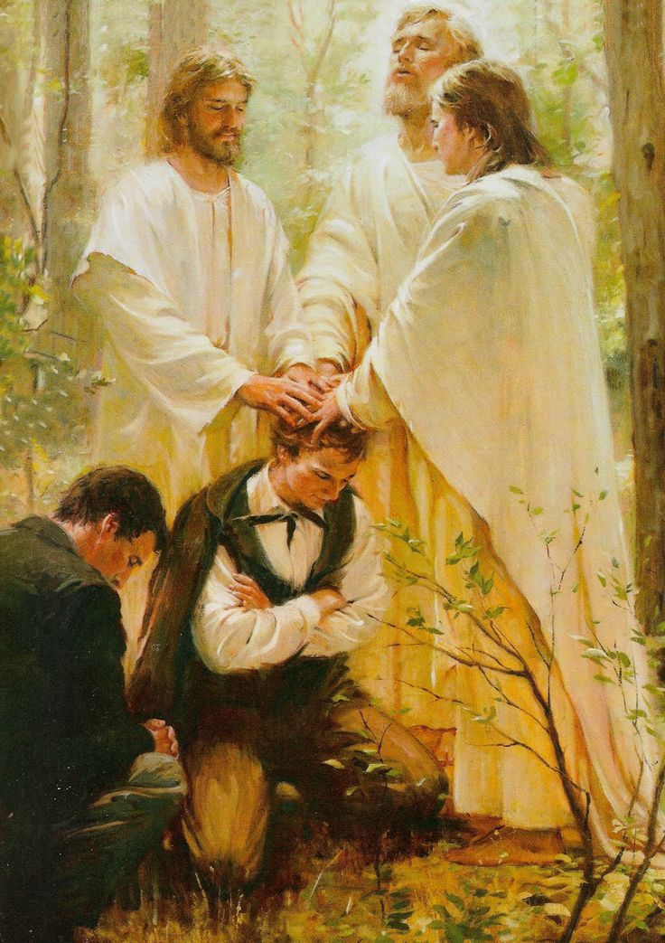 Walter Rane's painting of Joseph Smith receiving the priesthood from the ancient apostles, Peter, James and John.