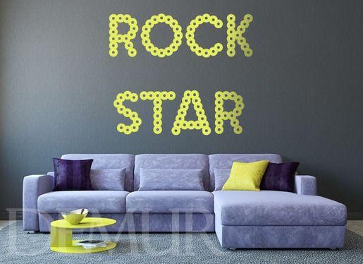 Rock star - Napisy - Naklejka na ścianę - Demur