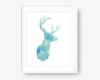 Deer printable, blue pattern deer, geometric, printable, digital file, nursery printable art, blue, nursery, cabin wall art, modern wall art