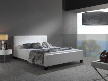 euro white leather queen size platform bed by fashion bed group