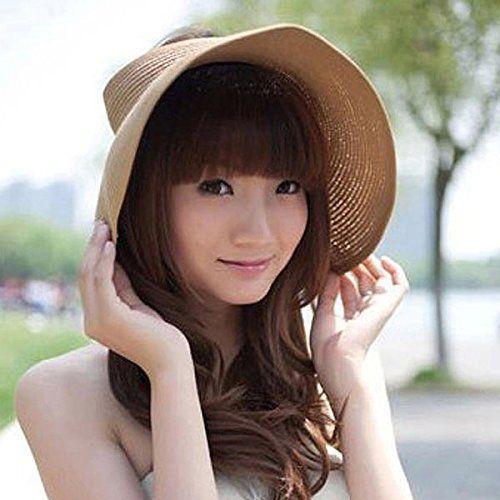 179c7b0e317 OULII Women Foldable Roll Up Wide Brim Bowknot Summer Beach Sun Visor Straw  Hat Cap (Khaki)