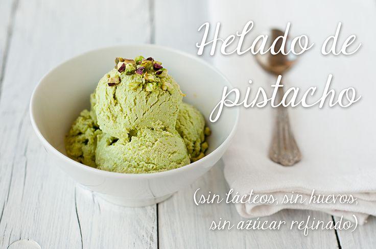 Helado de pistacho (sin lácteos, sin huevo, sin azúcar refinado)