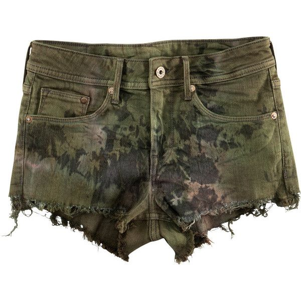 H&M Shorts (£20) ❤ liked on Polyvore featuring shorts, bottoms, pants, short, khaki green, h&m shorts, khaki shorts, green shorts, short khaki shorts and short shorts