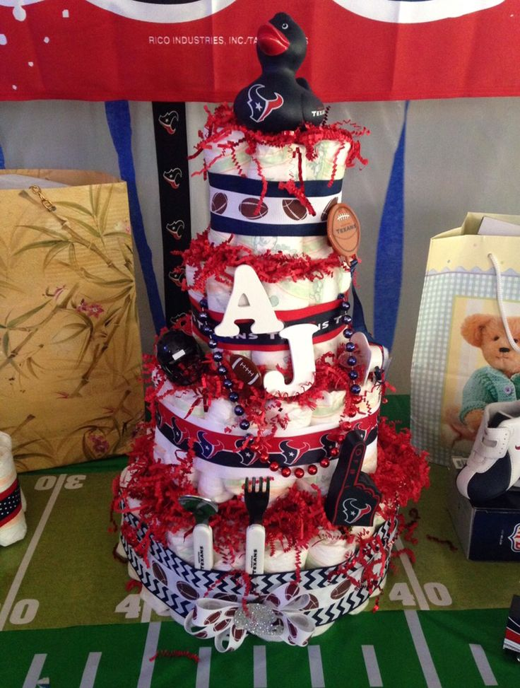 Texans baby shower diaper cake