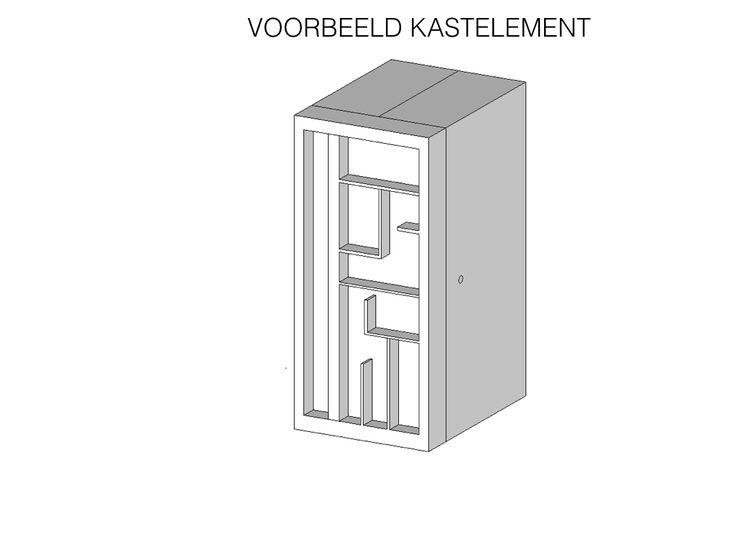 Voorbeeld van kastelement - Ga naar superfront.com: kies 2 ikea kasten (Pax) in de maat 50 br. x 201 h. Kies front Golden en kleur super white. Laat aan de voorkant een vakkenkast er tegenaan maken van hout: demeubelmaat.nl