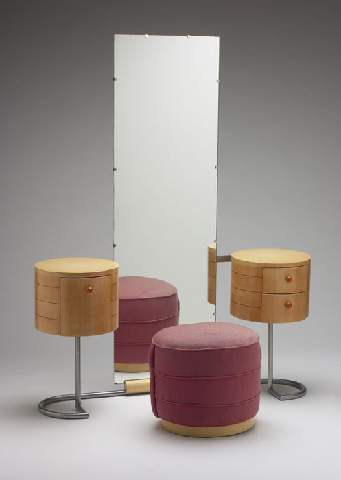 Gilbert Rohde and Herman Miller Furniture Company; Vanity and ottoman, 1934