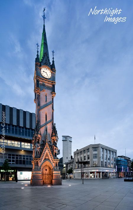 Clock Tower, Leicester, UK. The Haymarket Memorial Clock Tower is a major landmark and popular ... with a platform around 18 feet square, and lamps as a safeguard to passing pedestrians.
