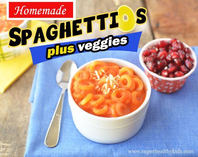 Homemade Spaghetti O's plus veggies