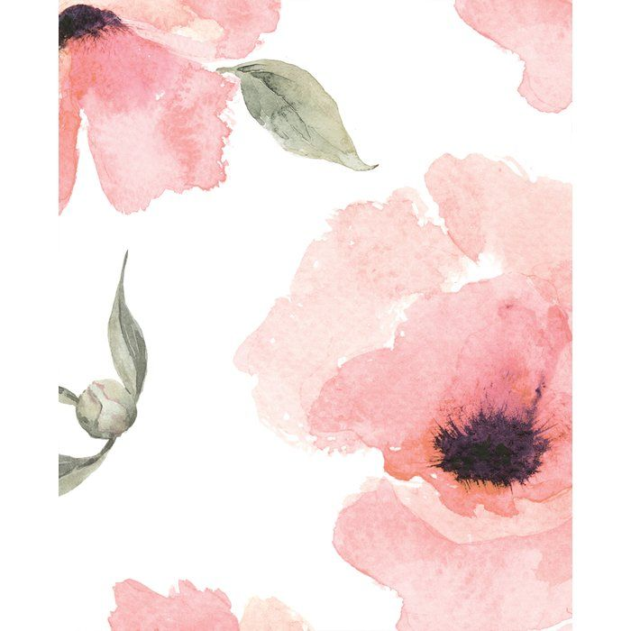 Jiles Watercolor Poppy Flowers Matte Peel And Stick Wallpaper
