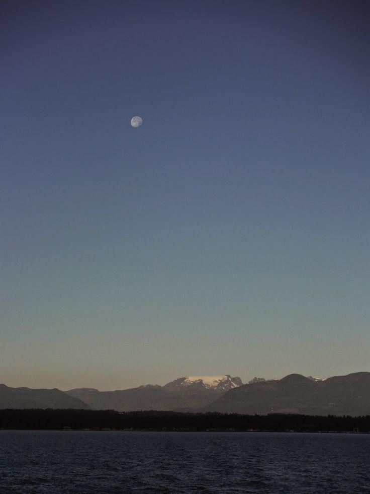 Moon setting over the Comox Glacier.  Comox Valley, BC