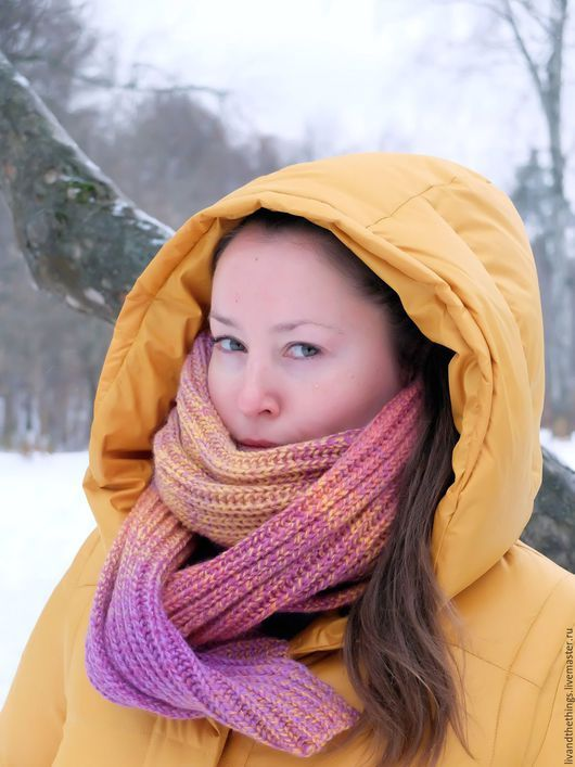 Шарфы и шарфики ручной работы. Заказать Длинный тёплый вязаный шарф из шерсти Зимний Закат. Анна (LivAndTheThings). Ярмарка Мастеров.