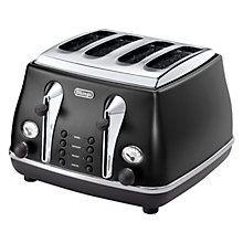 Buy De'Longhi Icona Vintage 4-Slice Toaster, Black Online at johnlewis.com