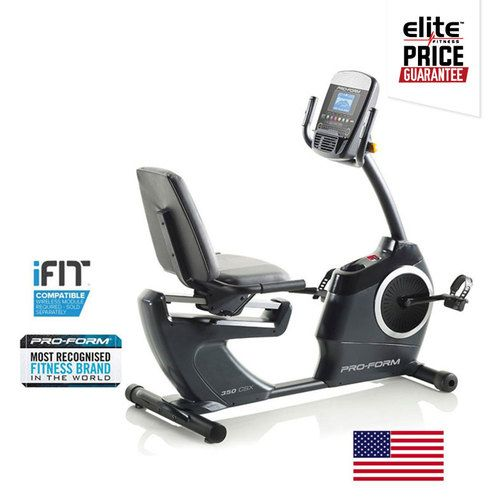 PROFORM 350 CSX RECUMBENT EXERCYCLE    SMR™ Silent Magnetic Resistance    22 Digital Resistance Levels    8kg Inertia Enhanced Flywheel    iFit® Compatible    24 Built-In Workout Apps