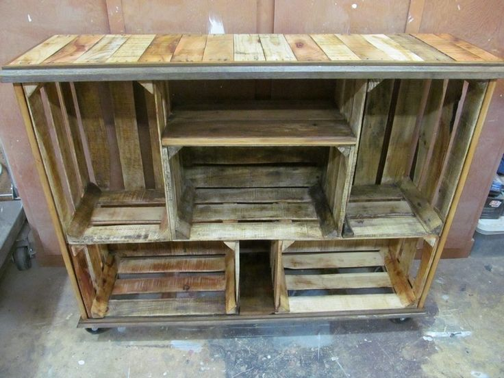 Outside Bar using pre-made crates. Maybe cover outside front with corrugated metal sheets or bamboo