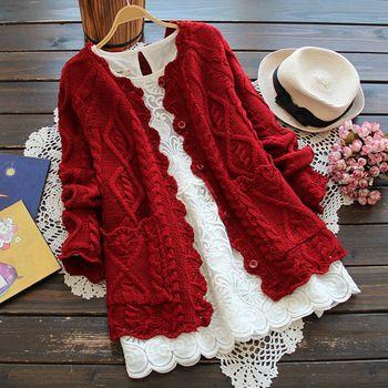 Outono Inverno Estilo Da Menina Mori Plus Size Mulheres Cardigan Camisola de Malha de Algodão de Cor Sólida Jaqueta Curta Moda Casaco da menina
