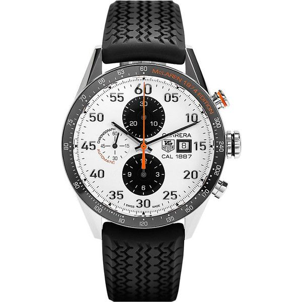 Tag Heuer Car2a12.ft6033 McLaren Edition Carrera chronograph watch (£3,555) ❤ liked on Polyvore featuring men's fashion, men's jewelry, men's watches, mens chronograph watches, mens leather strap watches, tag heuer mens watches and mens waterproof watches