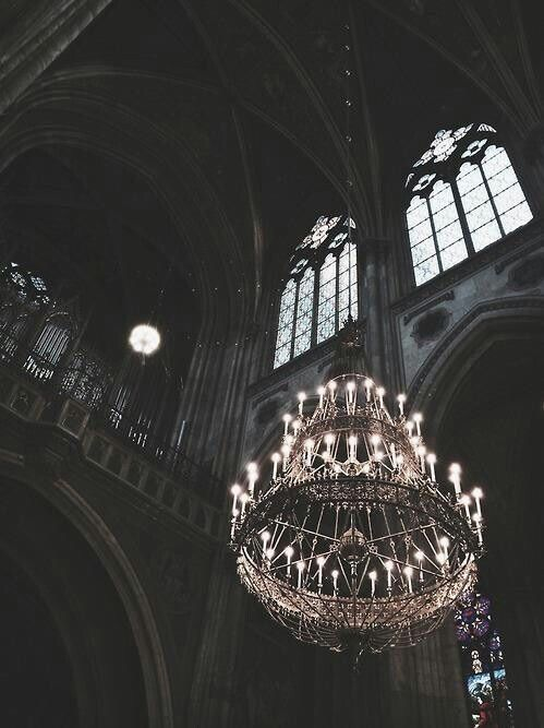 Elaborate chandeliers for lighting the interior of the space
